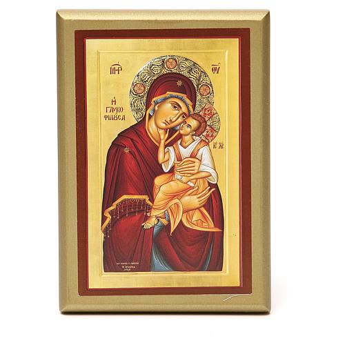 STOCK Quadretto legno Madonna con bimbo 15x10 cm 1