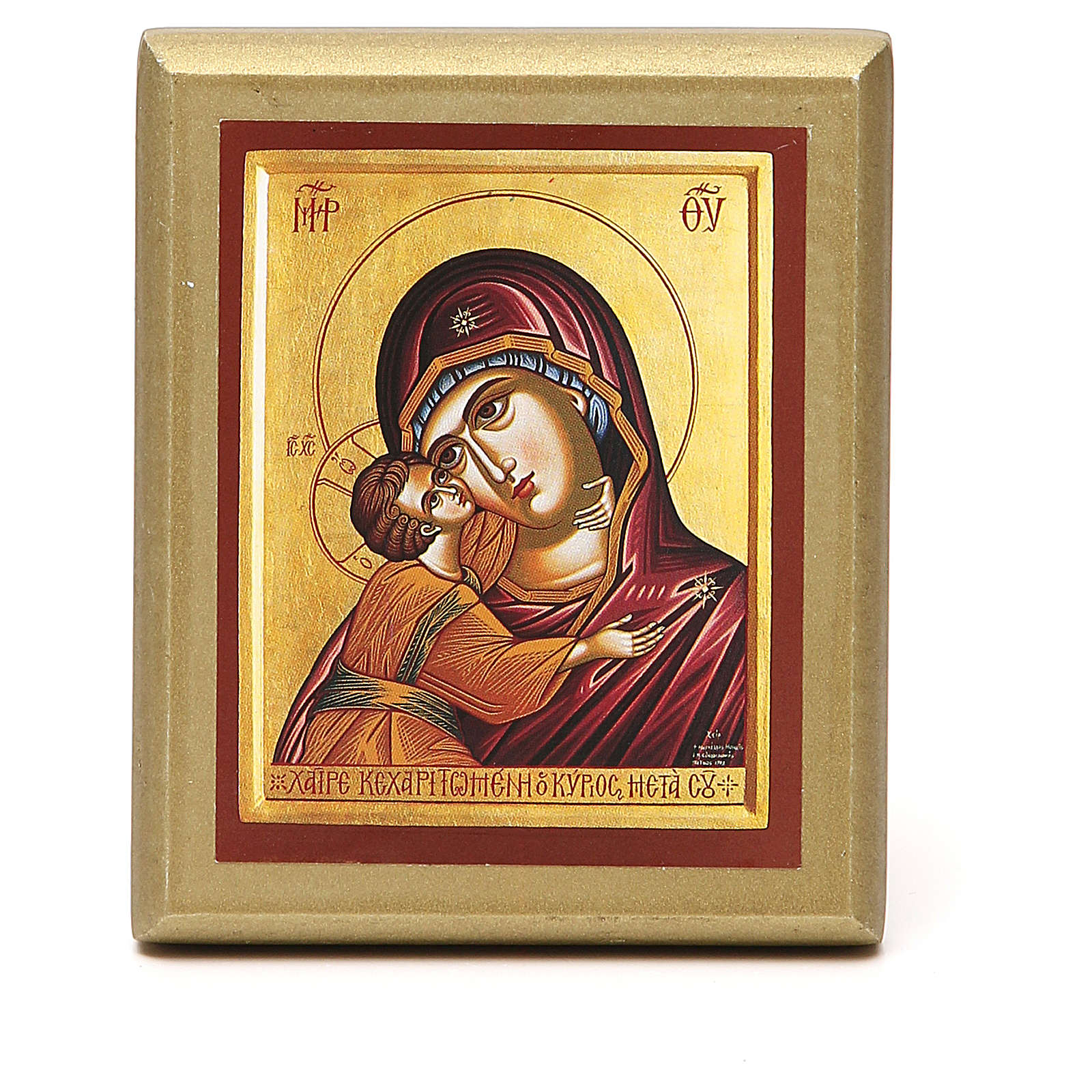 STOCK Small painting Virgin Mary red cape golden border 10x6,5cm 3