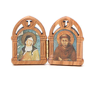 STOCK Diptych St. Clare & St. Francis of Assisi 5,5x8cm s1