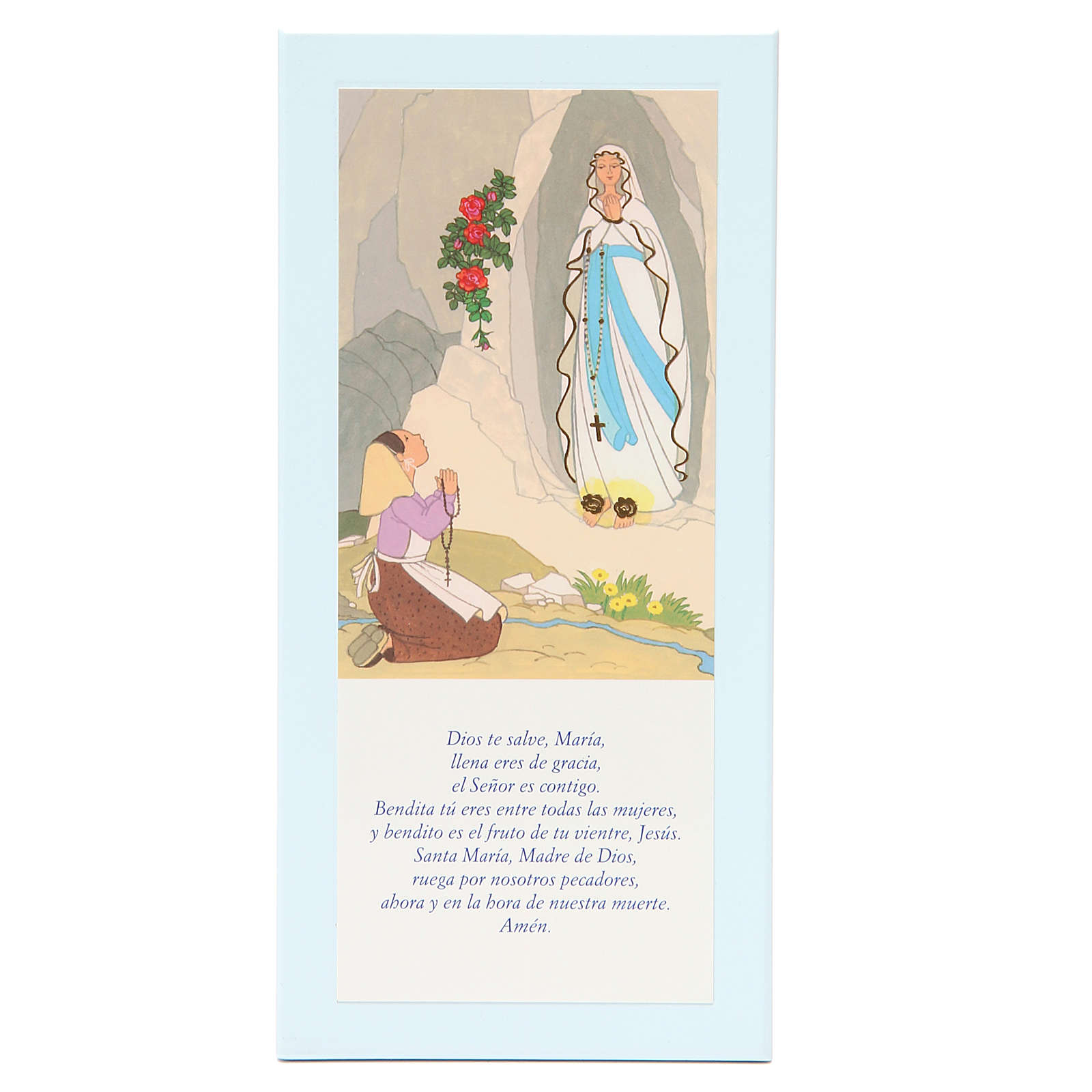 STOCK Our Lady or Lourdes painting light blue with Hail Mary SPANISH 26x12,5 cm 3