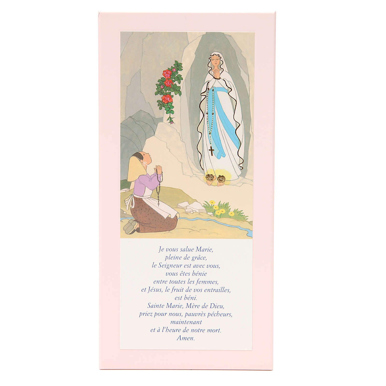 STOCK Our Lady of Lourdes painting pink with Hail Mary in FRENCH 26x12,5 cm 3