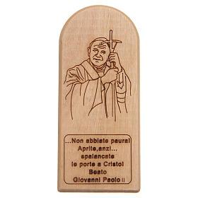 Cuadros, estampas y manuscritos iluminados: STOCK Retablo de Juan Pablo II madera olivo cm 8,5x3,5