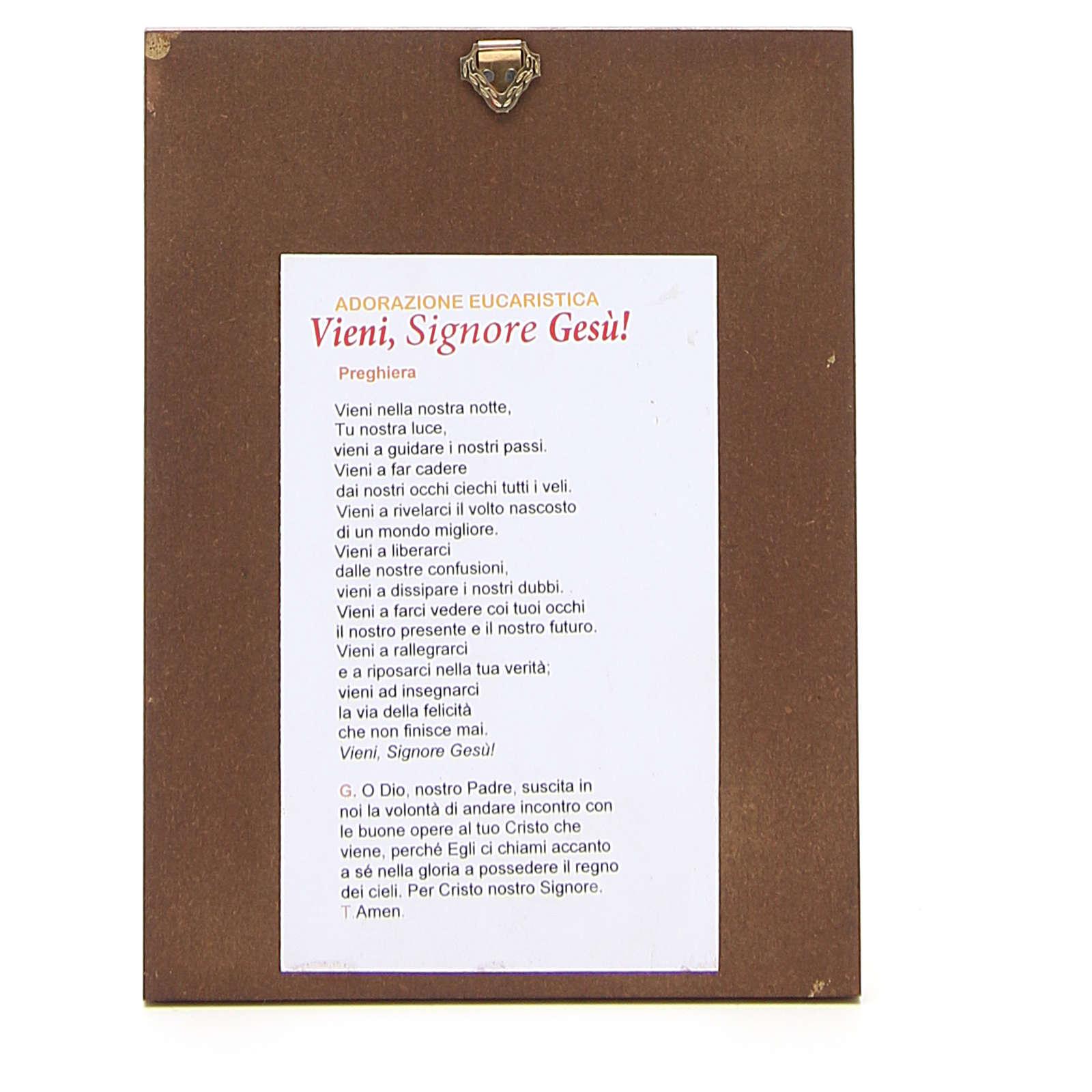 STOCK Tavola legno Cristo bordo dorato cm 17x14 cm 3