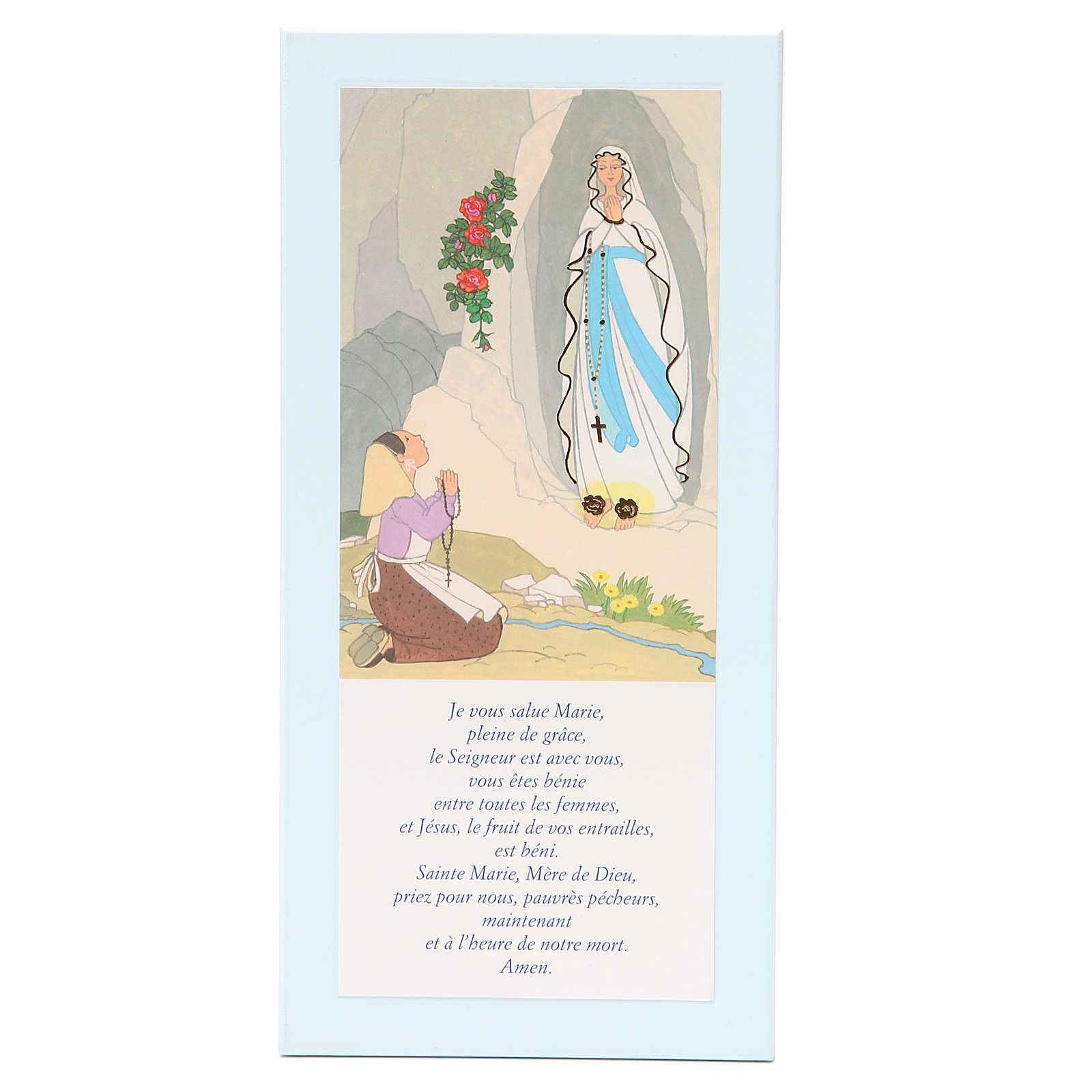 STOCK Our Lady of Lourdes painting light blue with Hail Mary in FRENCH 26x12,5 cm 3