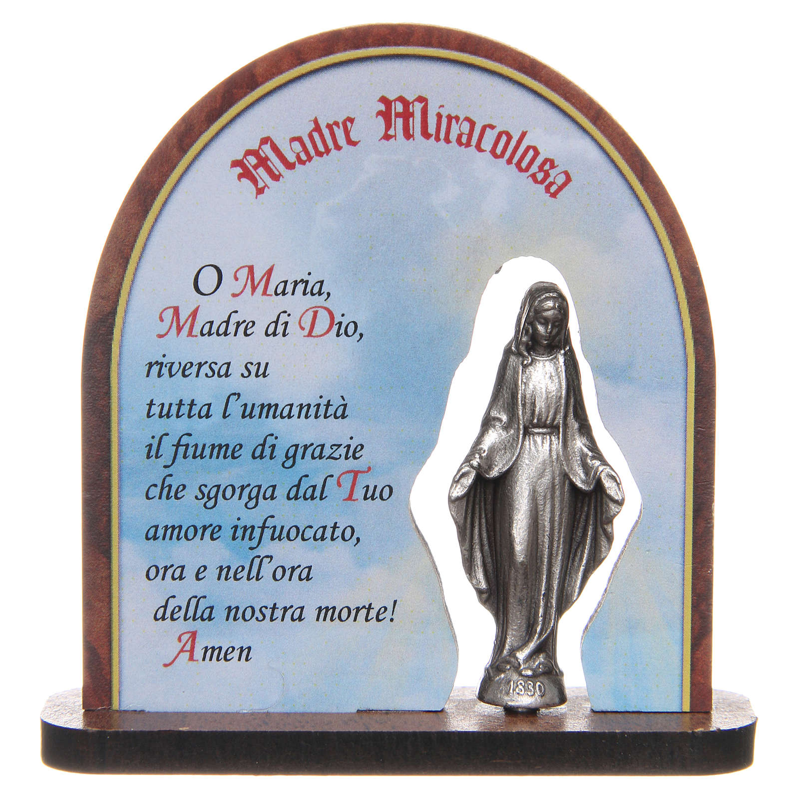 STOCK Our Lady of Miracles wooden arched painting 7 cm 3