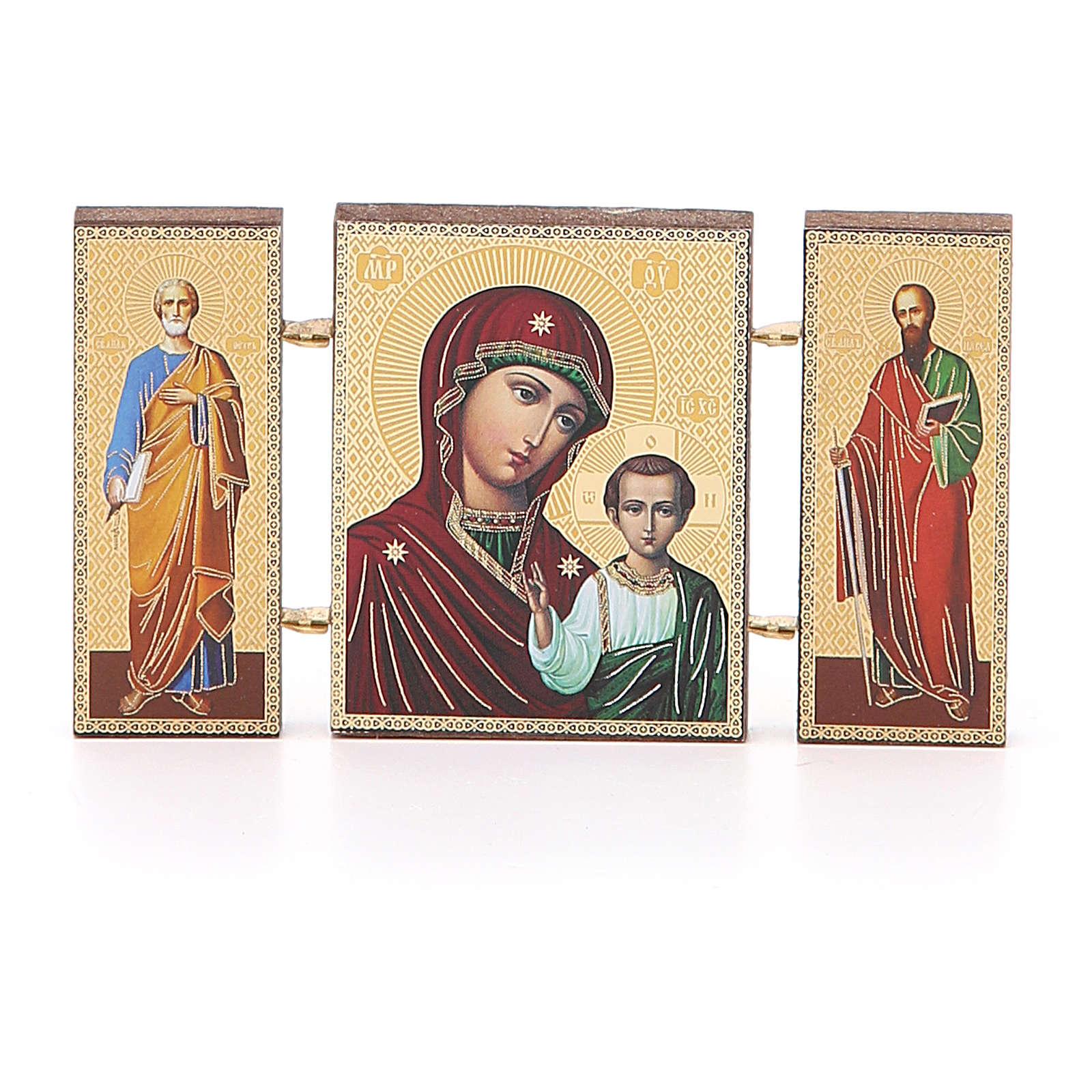 Trittico russo legno applicazione Kazanskaya 9,5x5,5 3