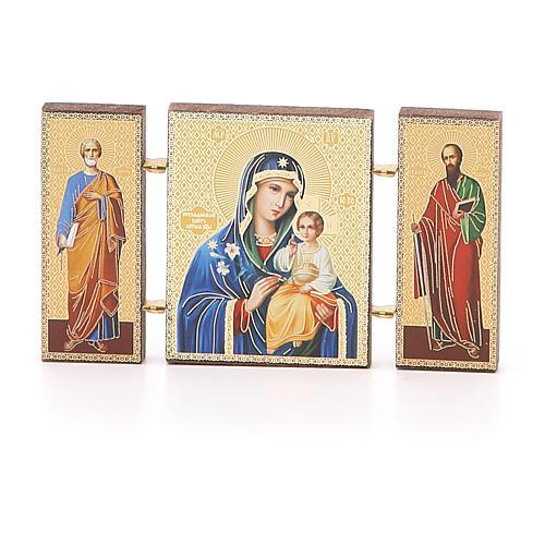 Trittico russo legno applicazione Giglio Bianco 9,5x5,5 1