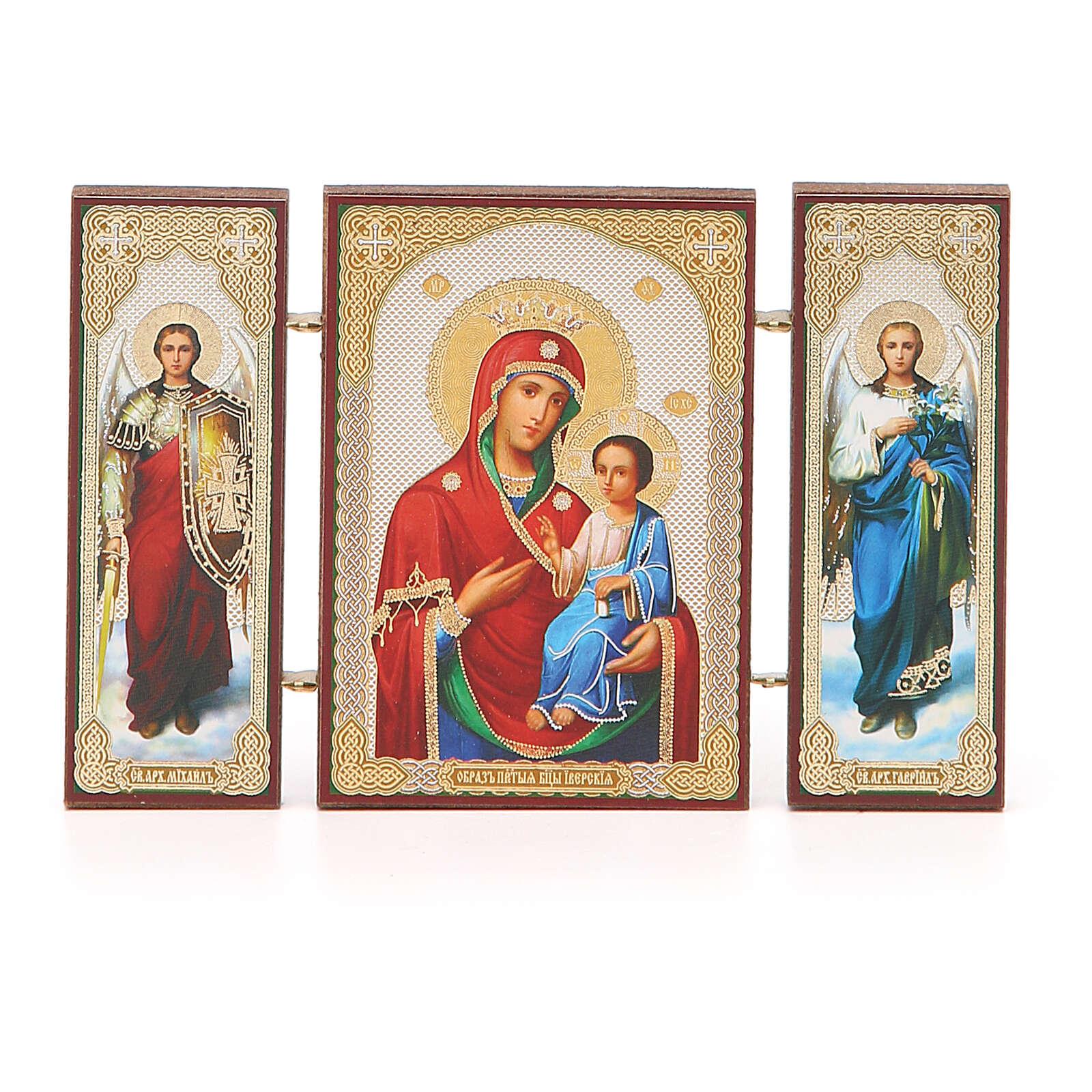Triptychon aus Holz russische Iverskaya-Ikone Gottesmutter von der Pforte, 13x8 cm 3