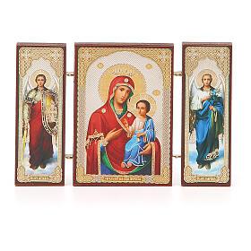 Triptychon aus Holz russische Iverskaya-Ikone Gottesmutter von der Pforte, 13x8 cm s4