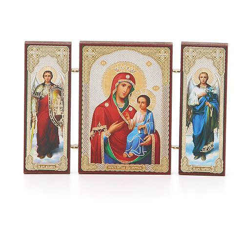 Triptychon aus Holz russische Iverskaya-Ikone Gottesmutter von der Pforte, 13x8 cm 1
