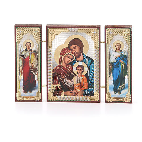 Triptych Russia Holy Family application 13x8cm 1