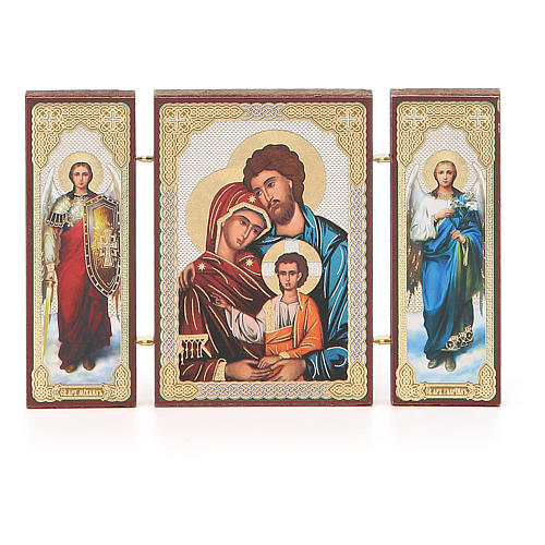 Triptych Russia Holy Family application 13x8cm 4