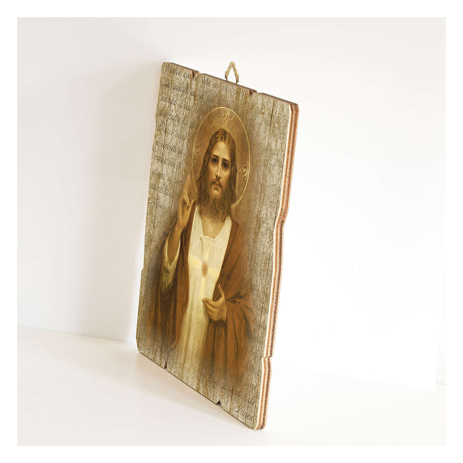 The Sacred Heart of Jesus painting in moulded wood 3