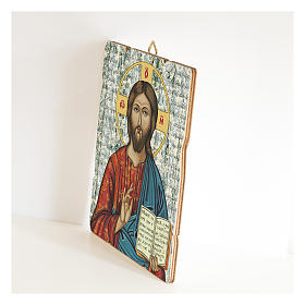 Christ Pantocrator painting in moulded wood s2