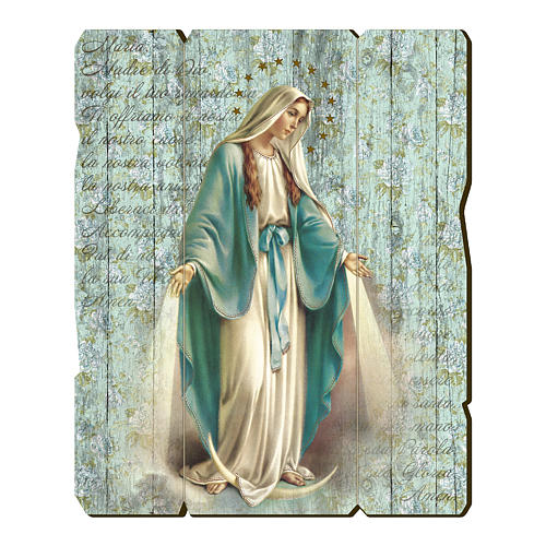 Our Lady of Miracles painting in moulded wood with hook on the back 1
