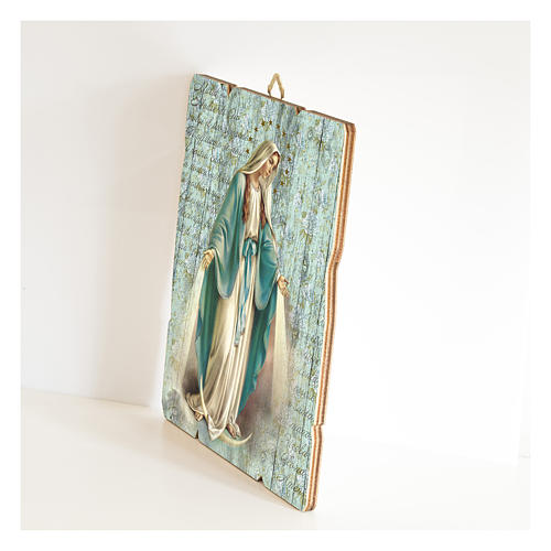 Our Lady of Miracles painting in moulded wood with hook on the back 2