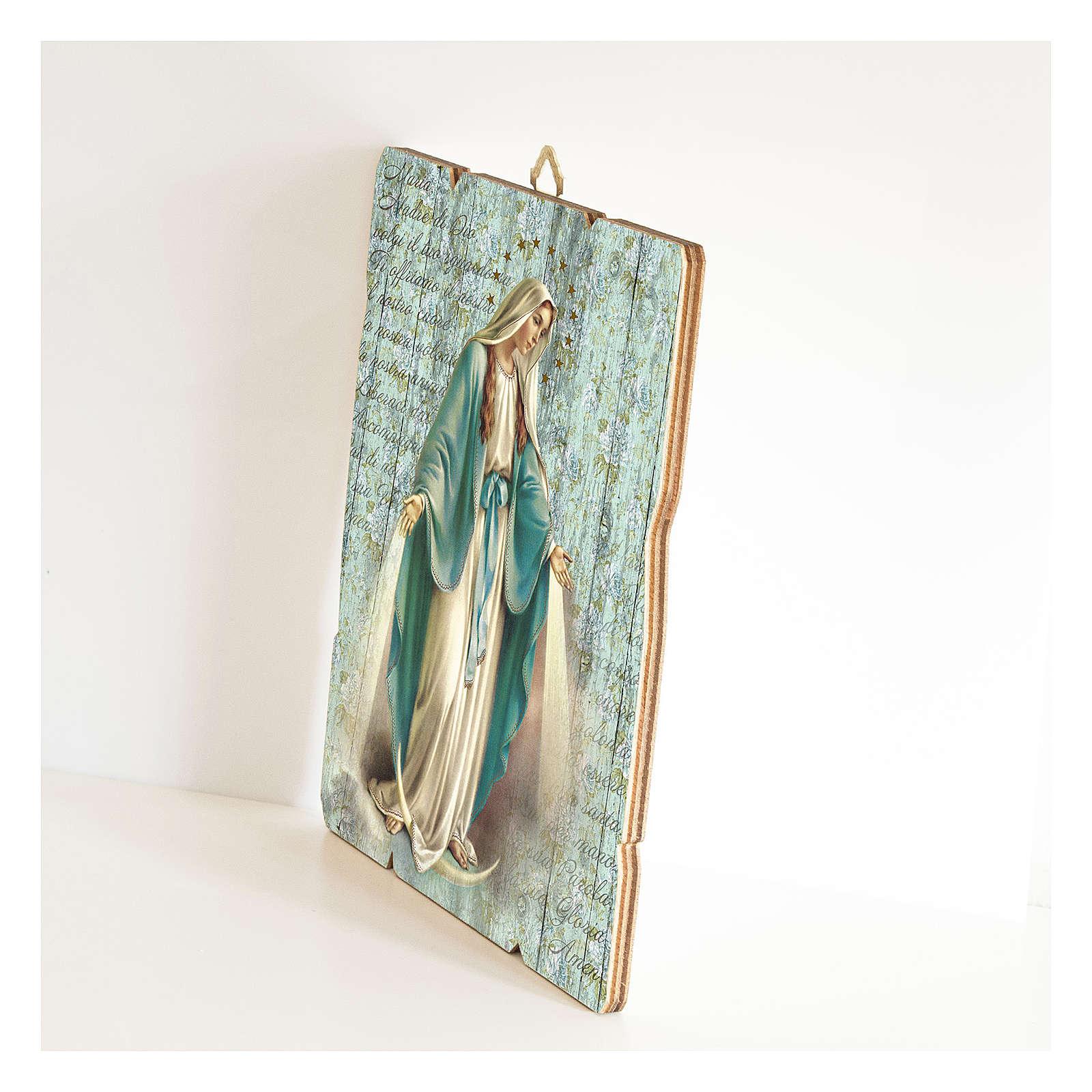 Cuadro madera perfilada gancho parte posterior Virgen Milagrosa 3