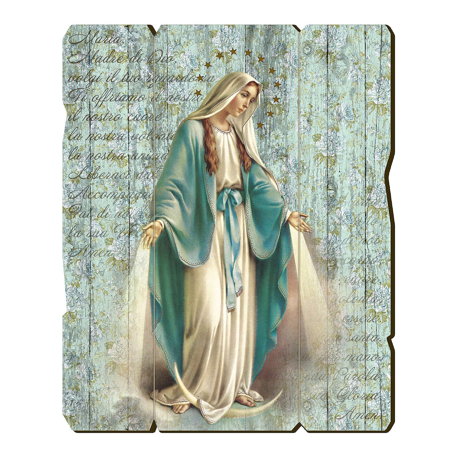 Quadro legno sagomato gancio retro Madonna Miracolosa 3