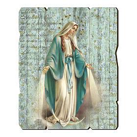 Quadro legno sagomato gancio retro Madonna Miracolosa s1