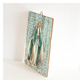 Quadro legno sagomato gancio retro Madonna Miracolosa s2