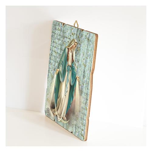 Quadro legno sagomato gancio retro Madonna Miracolosa 2