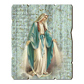 Obrazy, druki, iluminowane rękopisy: Obraz Cudowna Madonna retro drewno profilowany brzeg haczyk