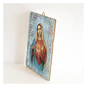 The Immaculate Heart of Mary painting in moulded wood with hook on the back s2