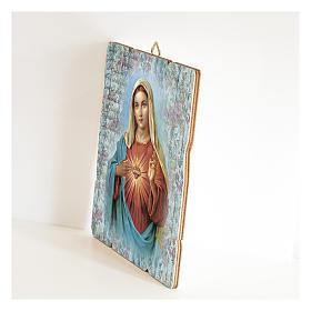 Cuadro madera perfilada gancho parte posterior Corazón Inmaculado María s2