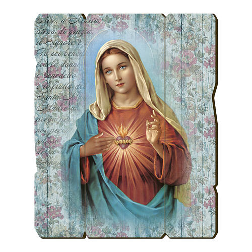 Cuadro madera perfilada gancho parte posterior Corazón Inmaculado María 1