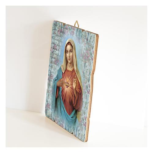 Cuadro madera perfilada gancho parte posterior Corazón Inmaculado María 2
