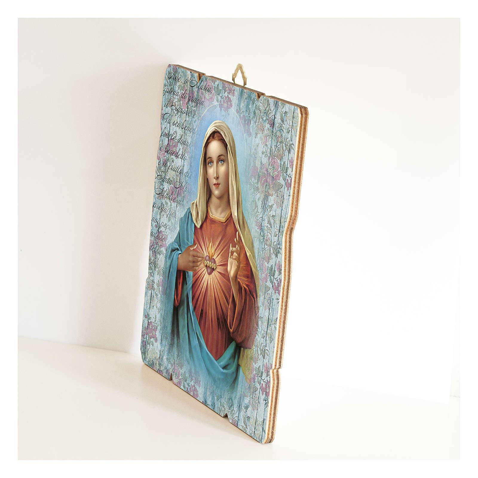 Tableau bois profilé crochet arrière Coeur Immaculé de Marie 3