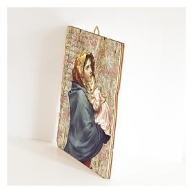 Cuadro madera perfilada gancho parte posterior Virgen Niño Ferruzzi s2