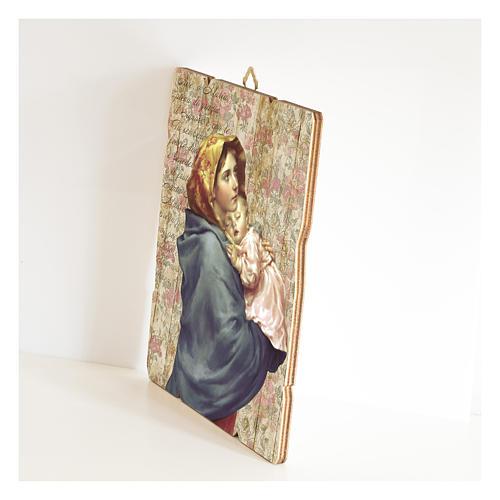 Cuadro madera perfilada gancho parte posterior Virgen Niño Ferruzzi 2
