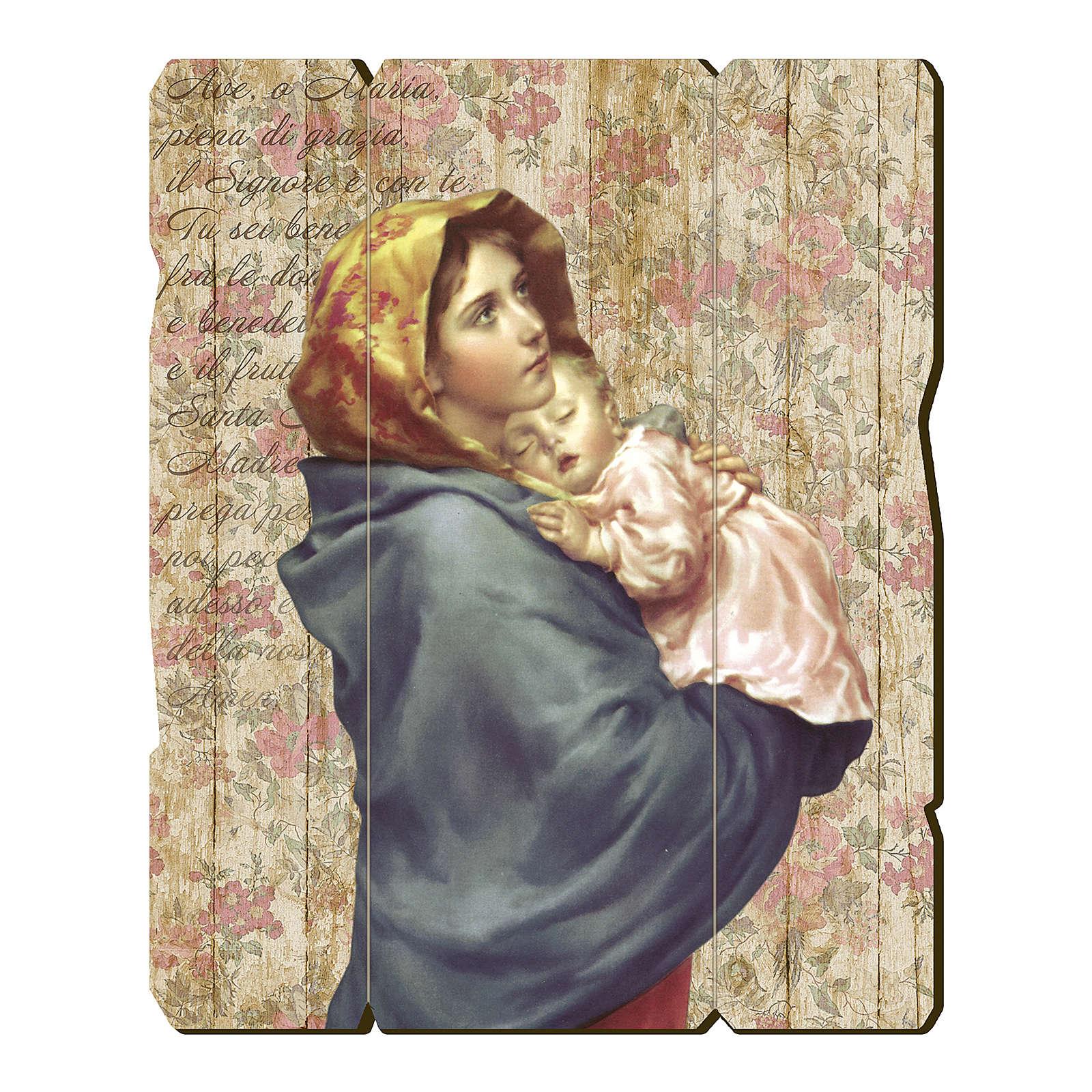 Quadro legno sagomato gancio retro Madonnina Bambino Ferruzzi 3