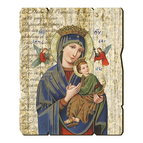 Quadro legno sagomato gancio retro Madonna Perpetuo Soccorso 1
