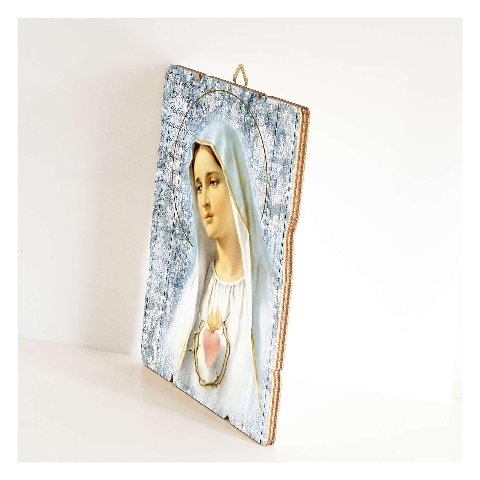 Cuadro madera perfilada gancho parte posterior de la Virgen de Fátima 3