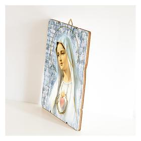 Cuadro madera perfilada gancho parte posterior de la Virgen de Fátima s2