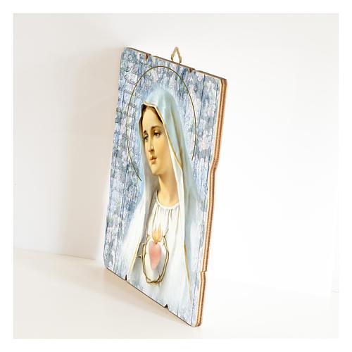 Cuadro madera perfilada gancho parte posterior de la Virgen de Fátima 2