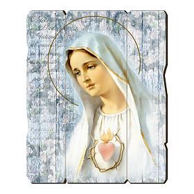 Obrazy, druki, iluminowane rękopisy: Obraz Matka Boża Fatimska retro drewno profilowany brzeg haczyk