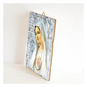 Our Lady of Fatima painting on wood with hook s2