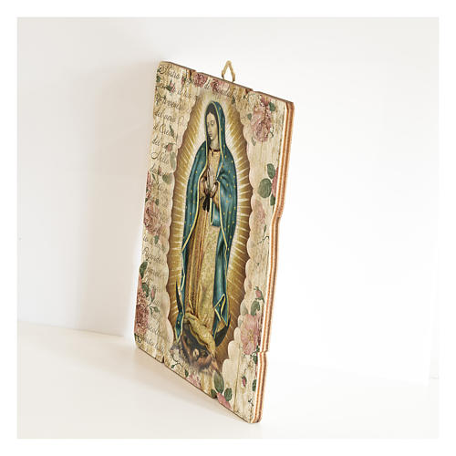 Our Lady of Guadalupe painting in moulded wood with hook on the back 2