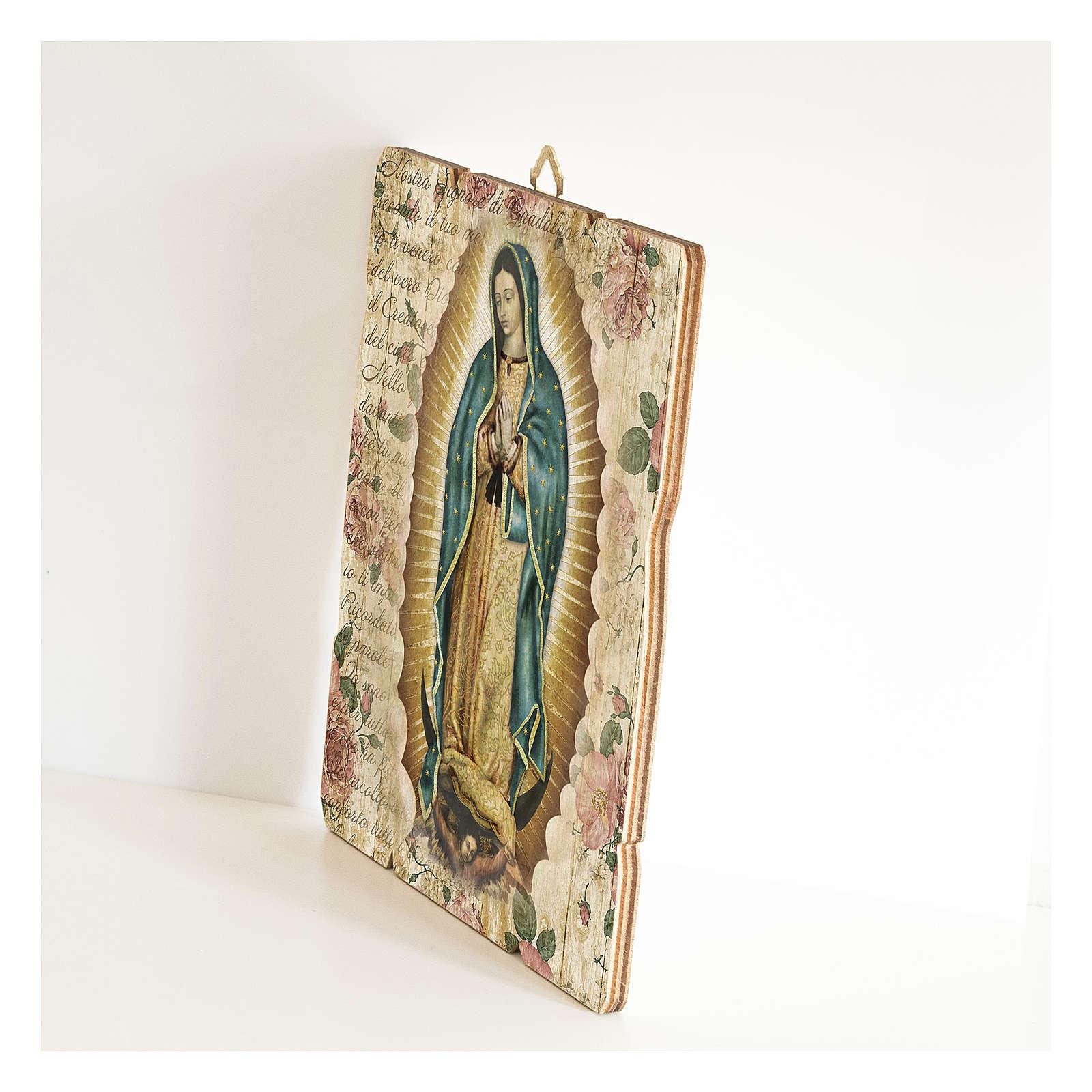 Cuadro madera perfilada gancho parte posterior de la Virgen de Guadalupe 3