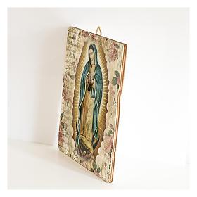 Cuadro madera perfilada gancho parte posterior de la Virgen de Guadalupe s2