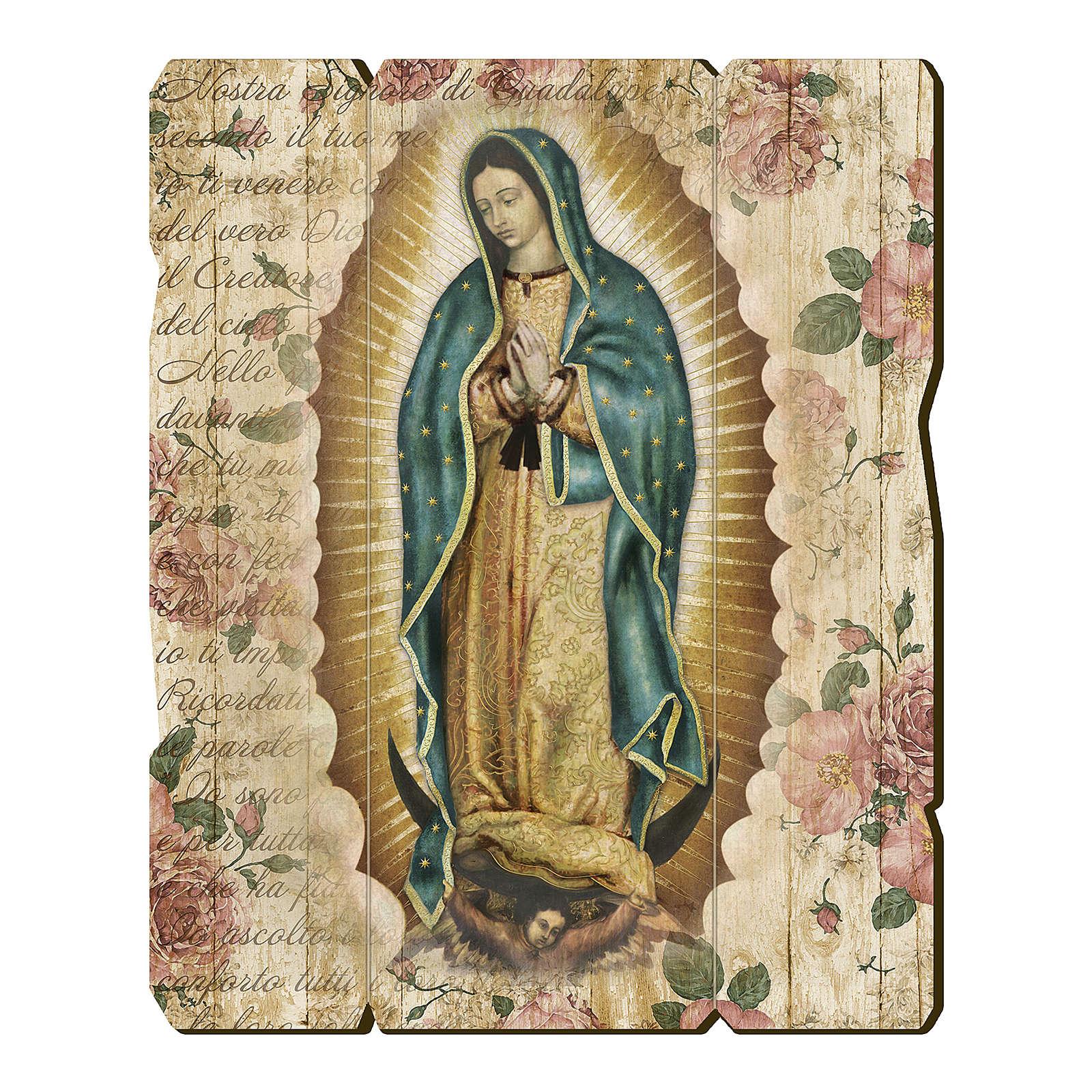 Quadro legno sagomato gancio retro Madonna di Guadalupe 3