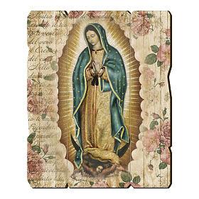 Quadri, stampe, codici miniati: Quadro legno sagomato gancio retro Madonna di Guadalupe