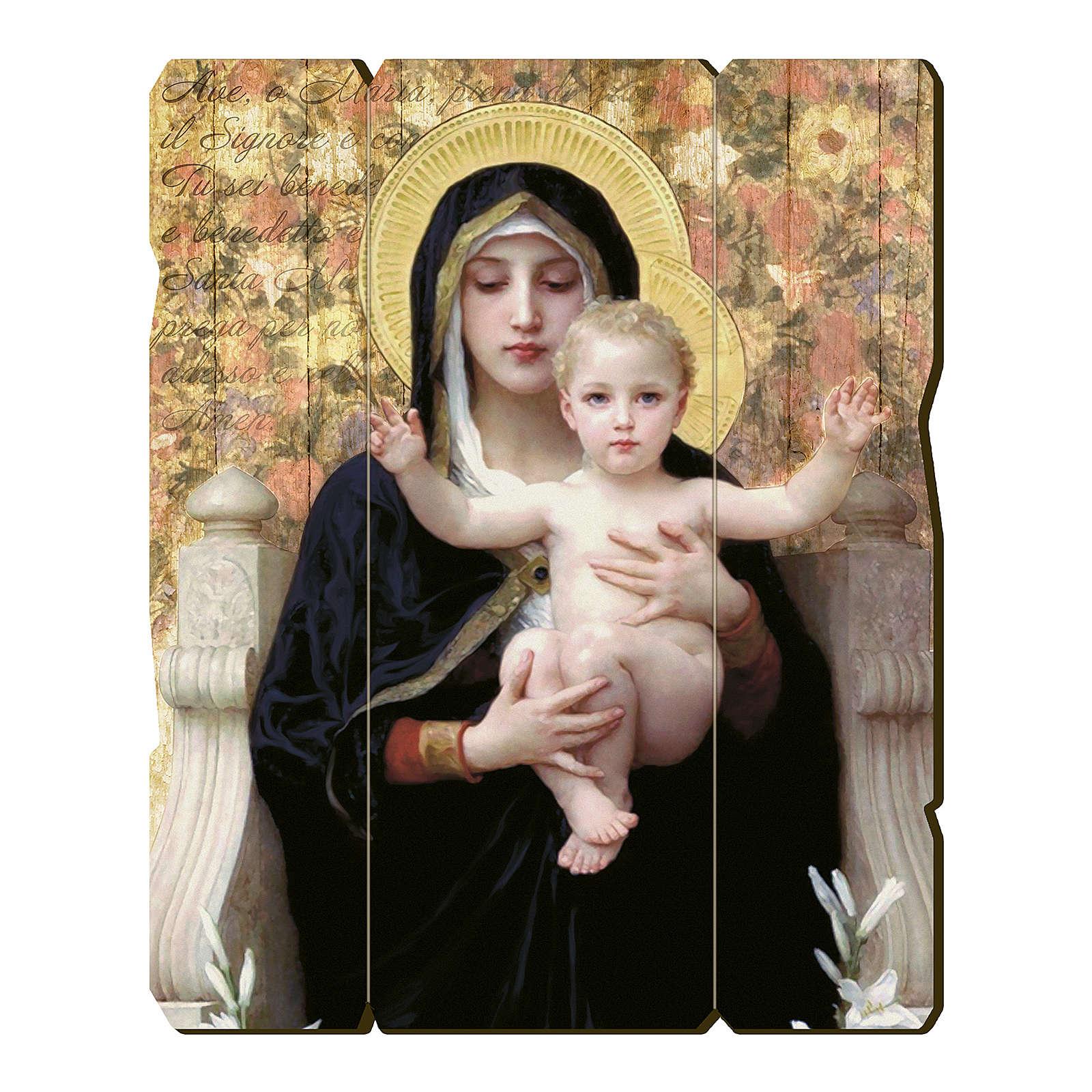 Quadro legno sagomato gancio retro Vergine del Giglio 3
