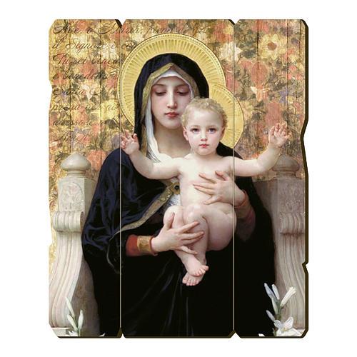 Quadro legno sagomato gancio retro Vergine del Giglio 1