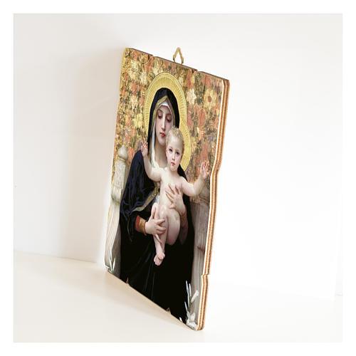 Quadro legno sagomato gancio retro Vergine del Giglio 2