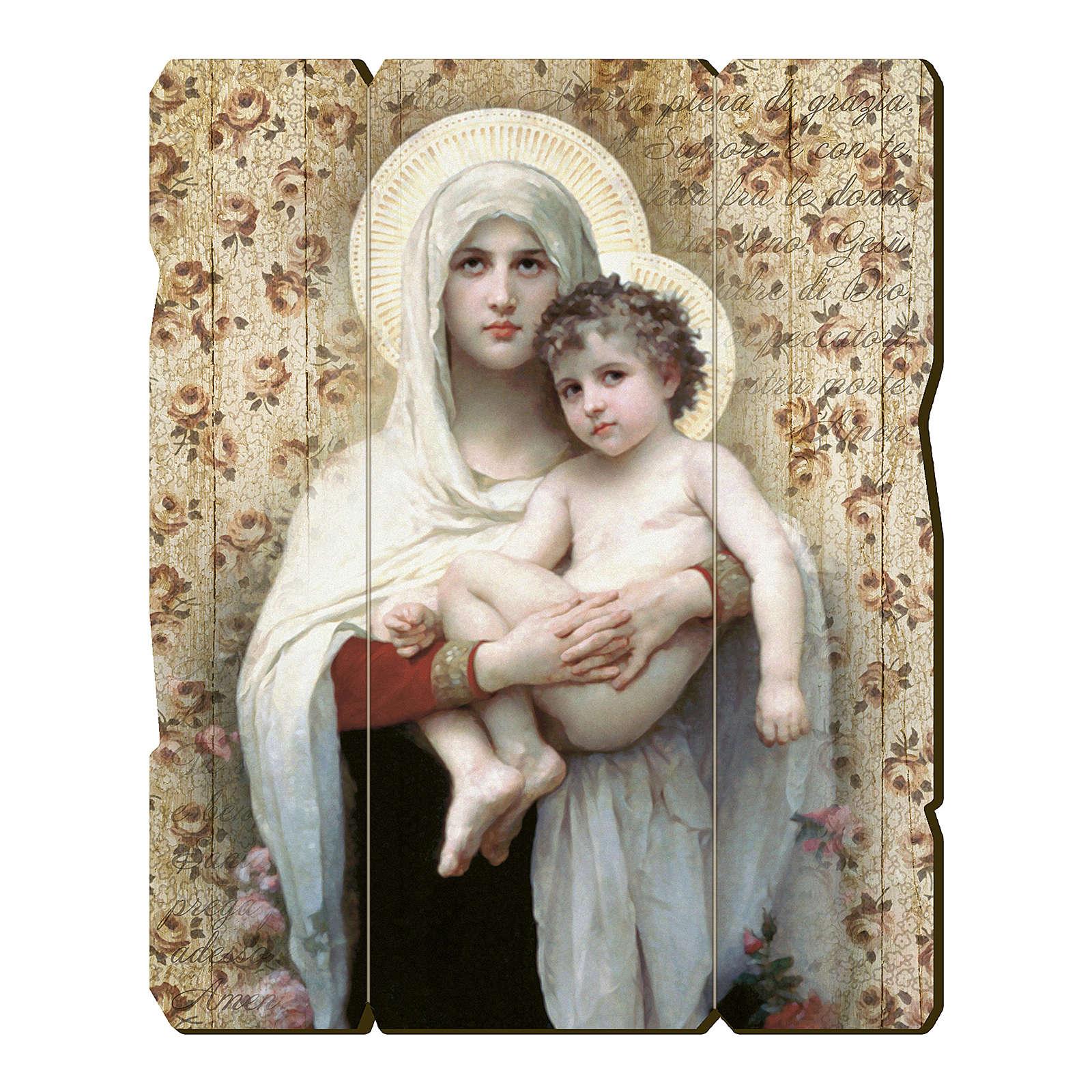 Quadro legno sagomato gancio retro Madonna Bambino di Bouguereau 3