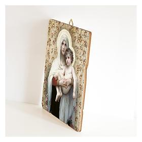 Quadro legno sagomato gancio retro Madonna Bambino di Bouguereau s2